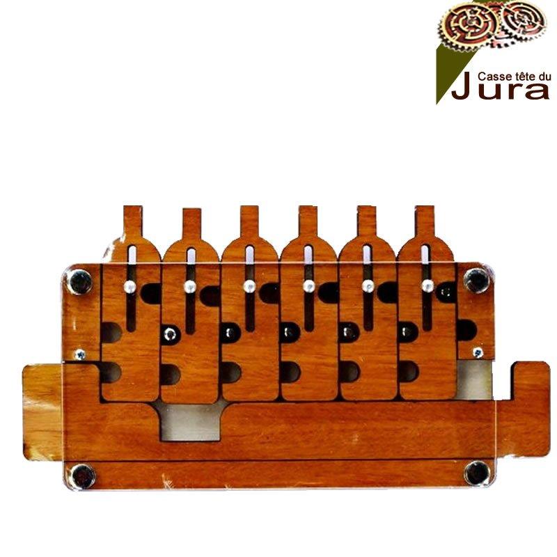 casse-tête en bois 6 bouteilles
