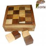 Puzzle en bois boite damier