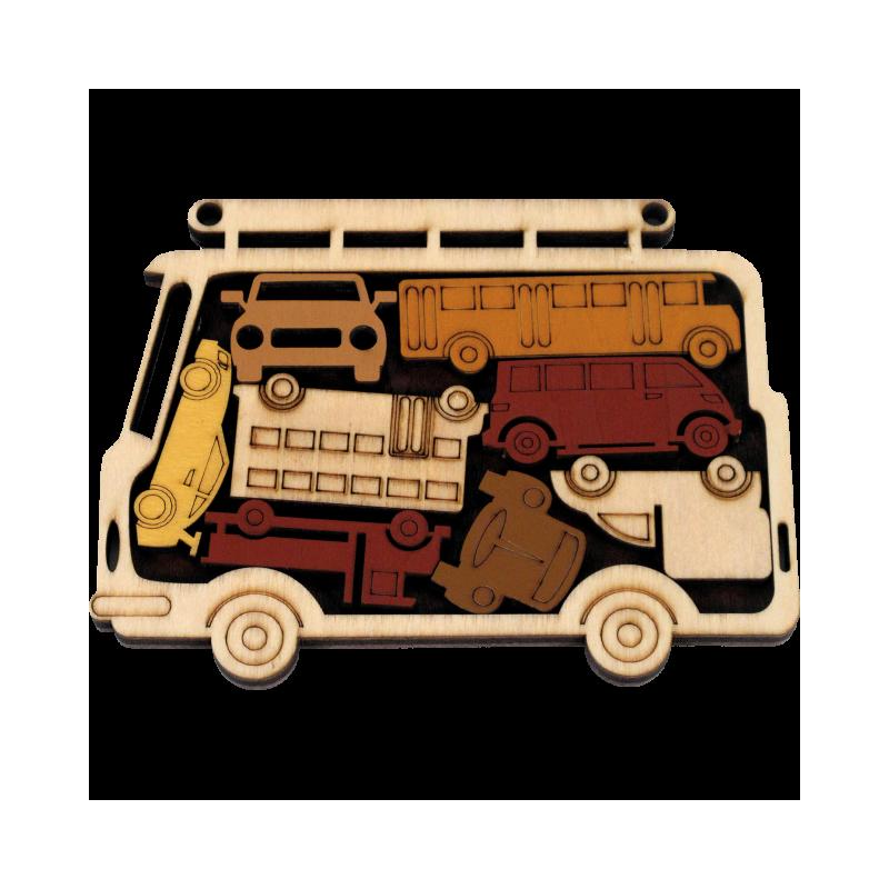 Puzzle voyage en bois. Auto