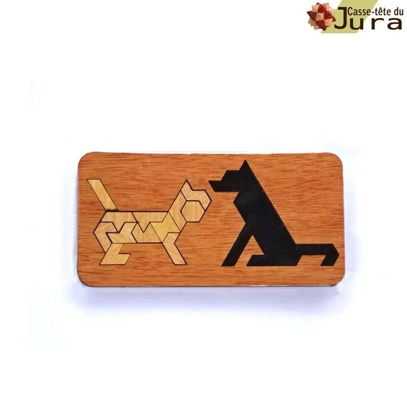 puzzle en bois chien ou chat