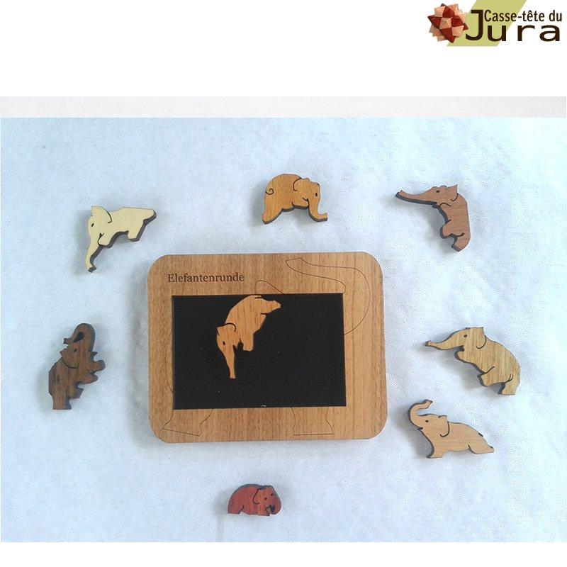 Casse tete puzzle ronde des elephants