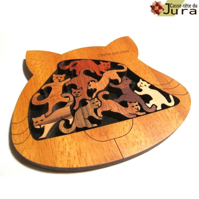 puzzle en bois chats perchés