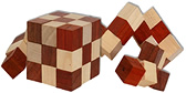 casse tete cube elastique serpent bois